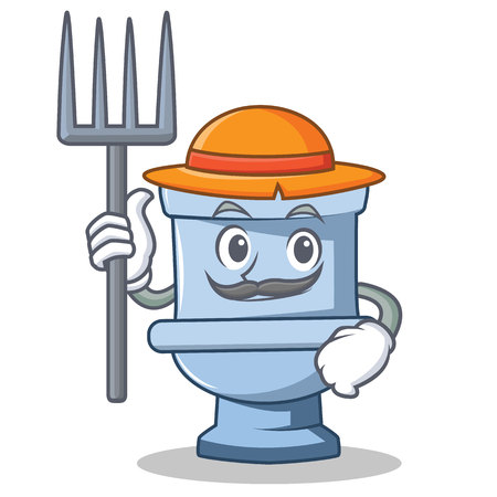 Farmer toilet character cartoon style