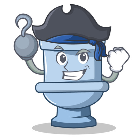 Pirate toilet character cartoon style Illustration