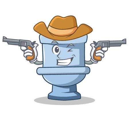 Cowboy toilet character cartoon style