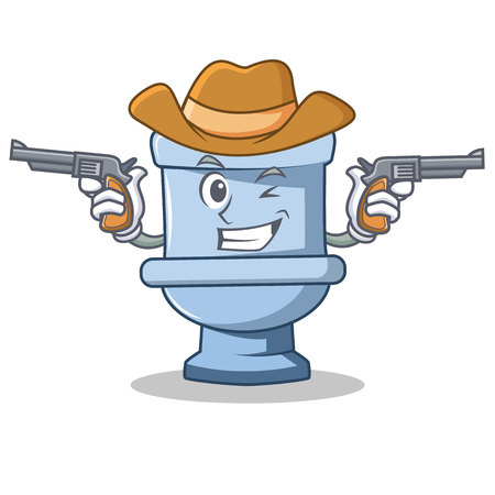 Cowboy toilet character cartoon style