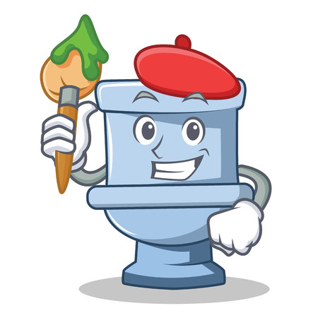 Artist toilet character cartoon style Illustration