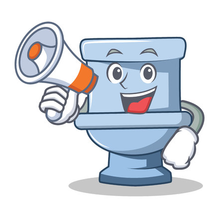 With megaphone toilet character cartoon style