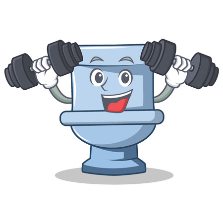 Fitness toilet character cartoon style
