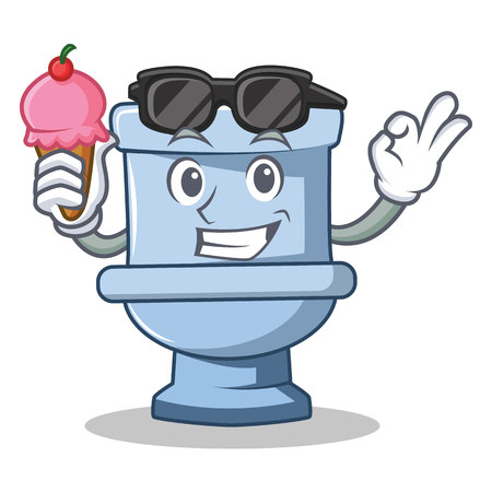 With ice cream toilet character cartoon style