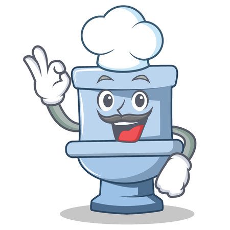 Chef toilet character cartoon style