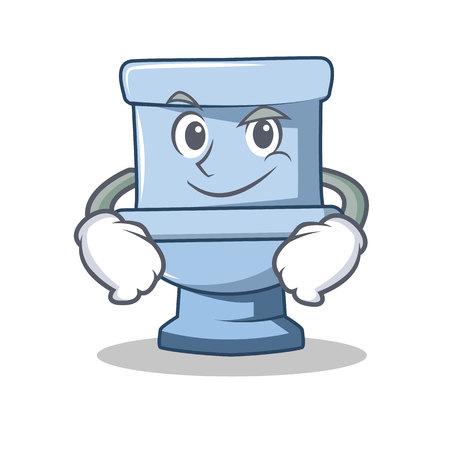 Smirking toilet character cartoon style