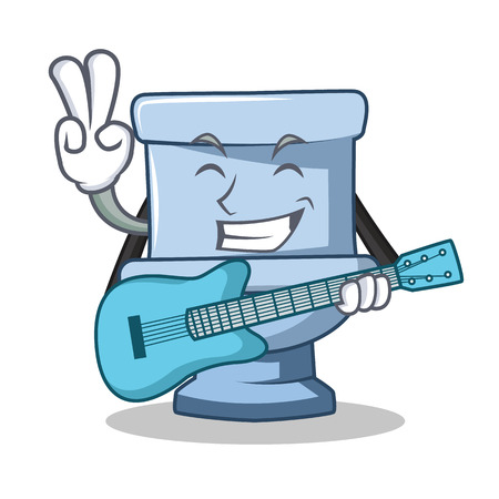 With guitar toilet character cartoon style