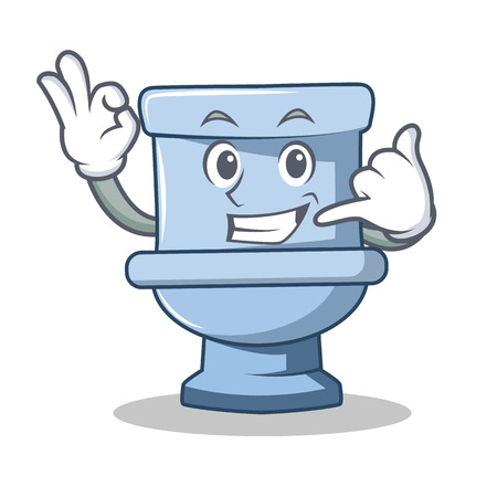 Call me toilet character cartoon style Illustration
