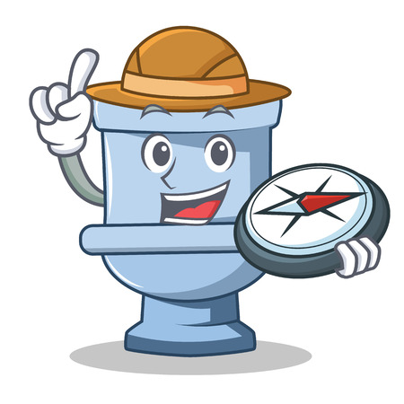 Explorer toilet character cartoon style