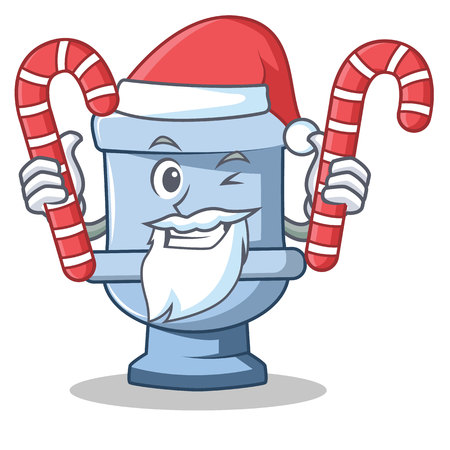 Santa with candy toilet character cartoon style