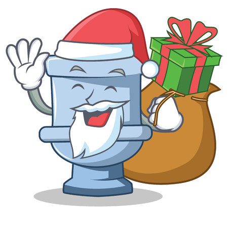 Santa with gift toilet character cartoon style