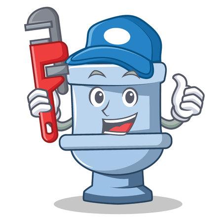 Plumber toilet character cartoon style Illustration
