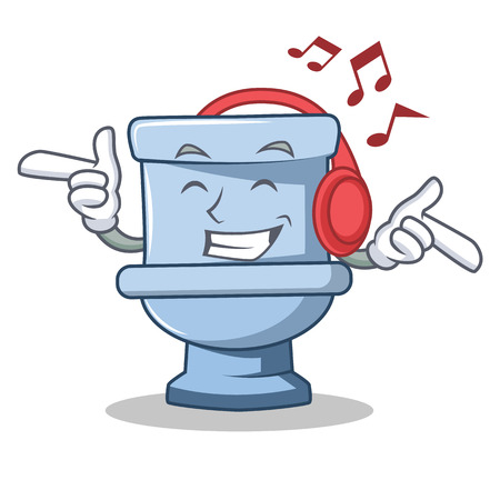 Listening music toilet character cartoon style
