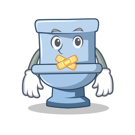 Silent toilet character cartoon style