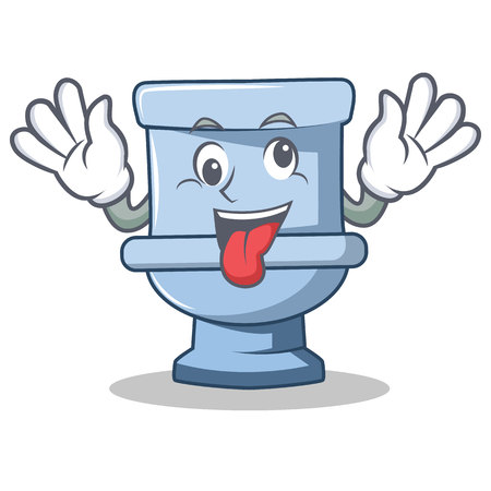 Crazy toilet character cartoon style Illustration