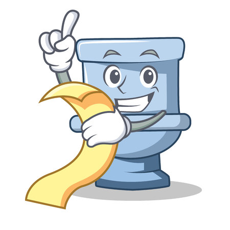 With menu toilet character cartoon style