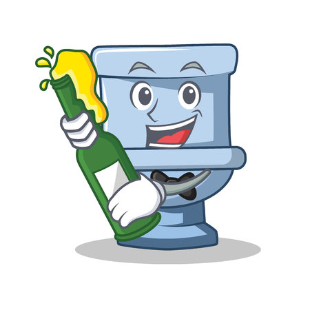 With beer toilet character cartoon style Illustration