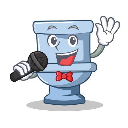 Singing toilet character cartoon style vector illustration Illustration