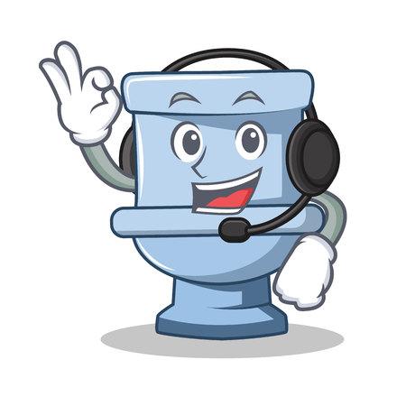 With headphone toilet character cartoon style vector illustration