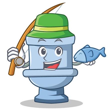 Fishing toilet character cartoon style vector illustration Illustration
