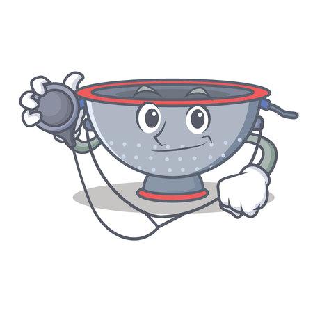 Doctor colander utensil character cartoon