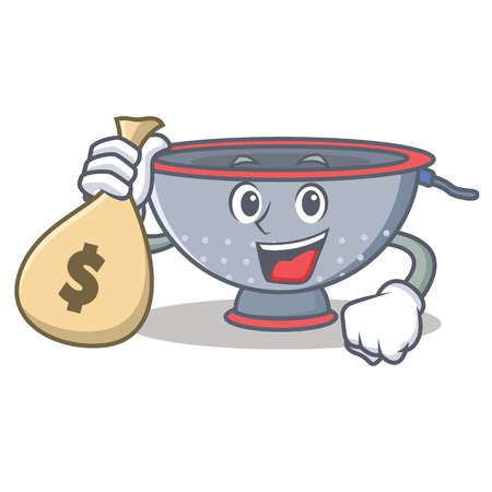 With money bag colander utensil character cartoon