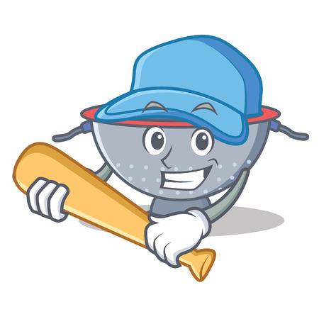 Playing baseball colander utensil character cartoon