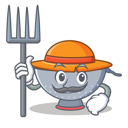 Farmer colander utensil character cartoon