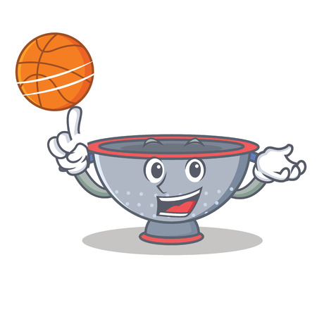 With basketball colander utensil character cartoon