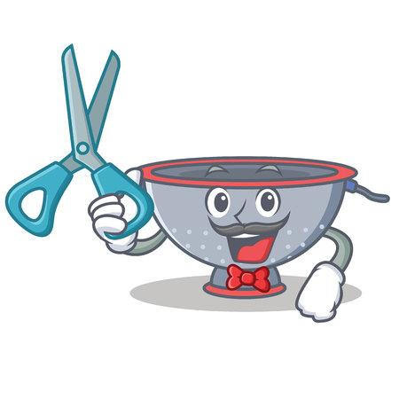 Barber colander utensil character cartoon