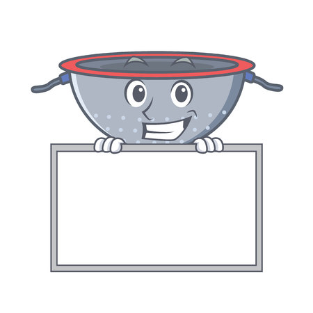 Grinning with board colander utensil character cartoon