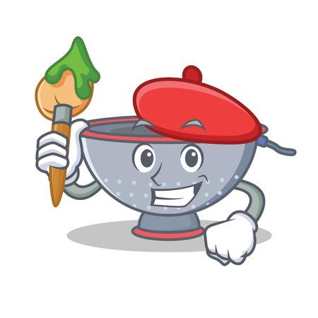 Artist colander utensil character cartoon vector illustration