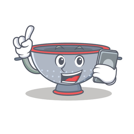 With phone colander utensil character cartoon Illustration