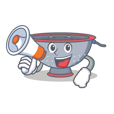 With megaphone colander utensil character cartoon Illustration