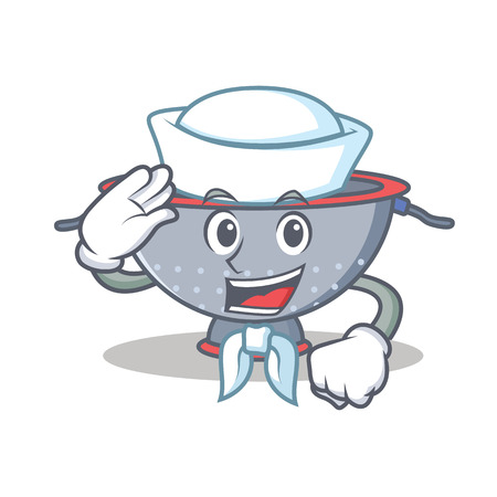 Sailor colander utensil character cartoon Illustration