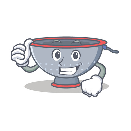 Thumbs up colander utensil character cartoon vector illustration