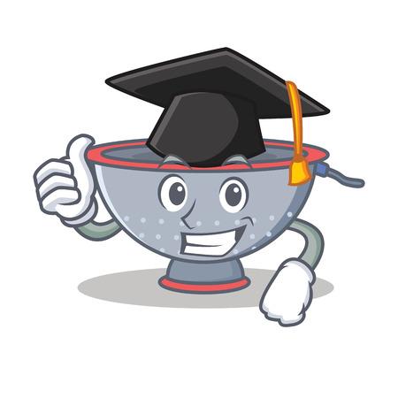 Graduation colander utensil character cartoon vector illustration