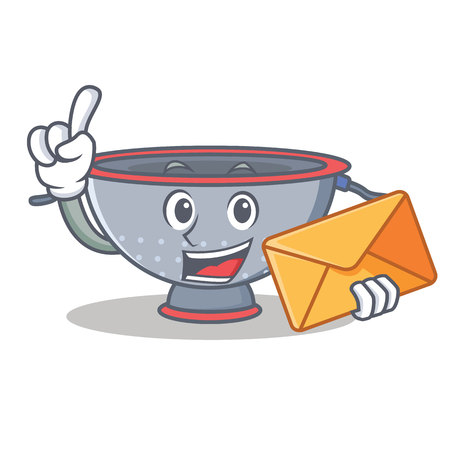 Colander with envelop character cartoon vector illustration. Illustration