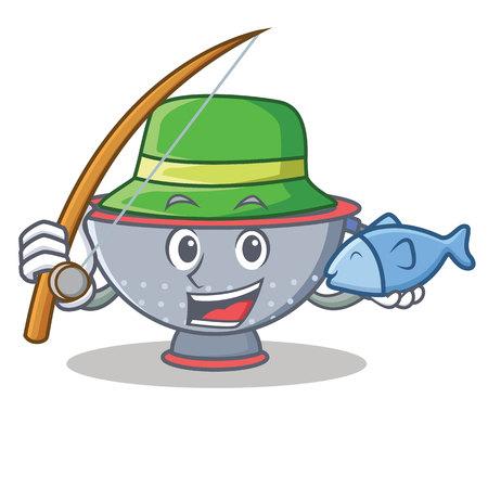 Fishing colander utensil character cartoon illustration