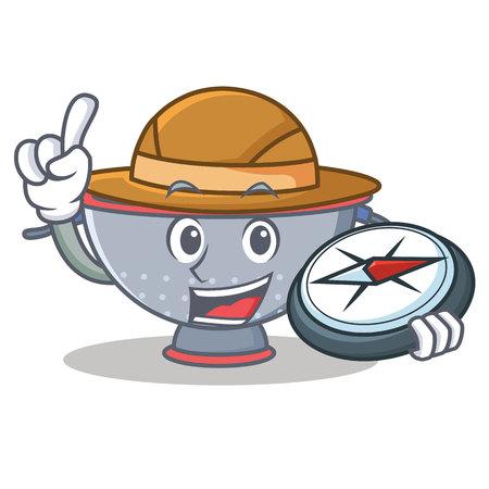 Explorer colander utensil character cartoon Illustration