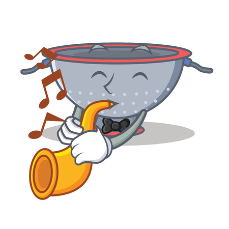 With trumpet colander utensil character cartoon