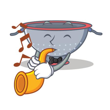 With trumpet colander utensil character cartoon