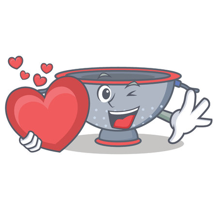 With heart colander utensil character cartoon