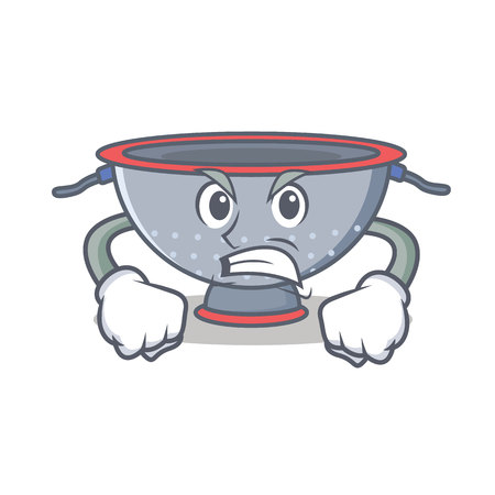 Angry colander utensil character cartoon vector illustration
