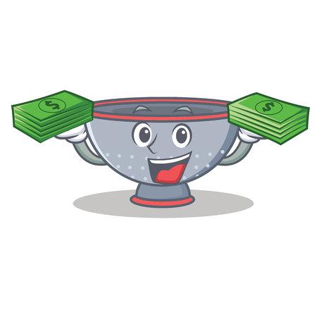 With money colander utensil character cartoon
