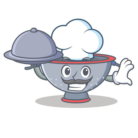 Chef with food colander utensil character cartoon vector illustration