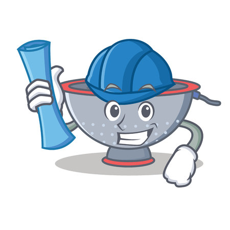 Architect colander utensil character cartoon vector illustration