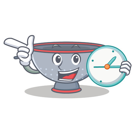 With clock colander utensil character cartoon vector illustration
