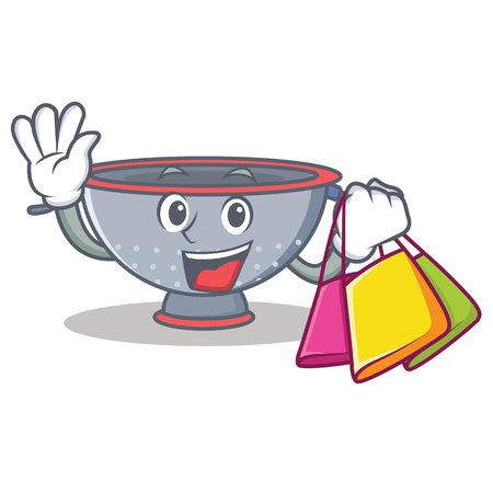 Shopping colander utensil character cartoon vector illustration