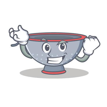 Successful colander utensil character cartoon vector illustration
